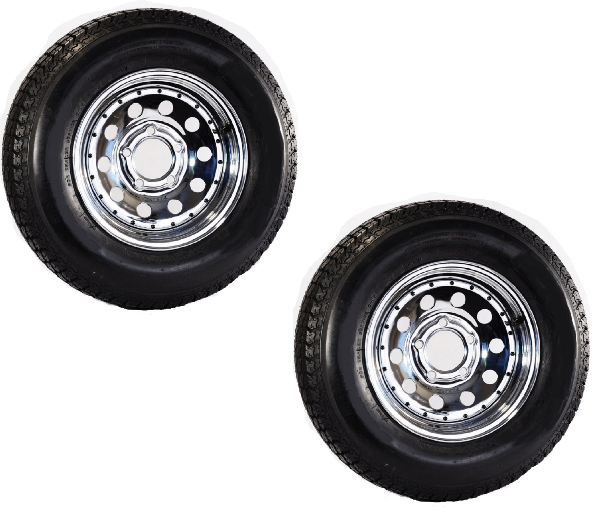 eCustomRim 2-Pack Mounted Trailer Tire Rim H188 ST205/75D14 14X6 5-4.5 Directional Chrome