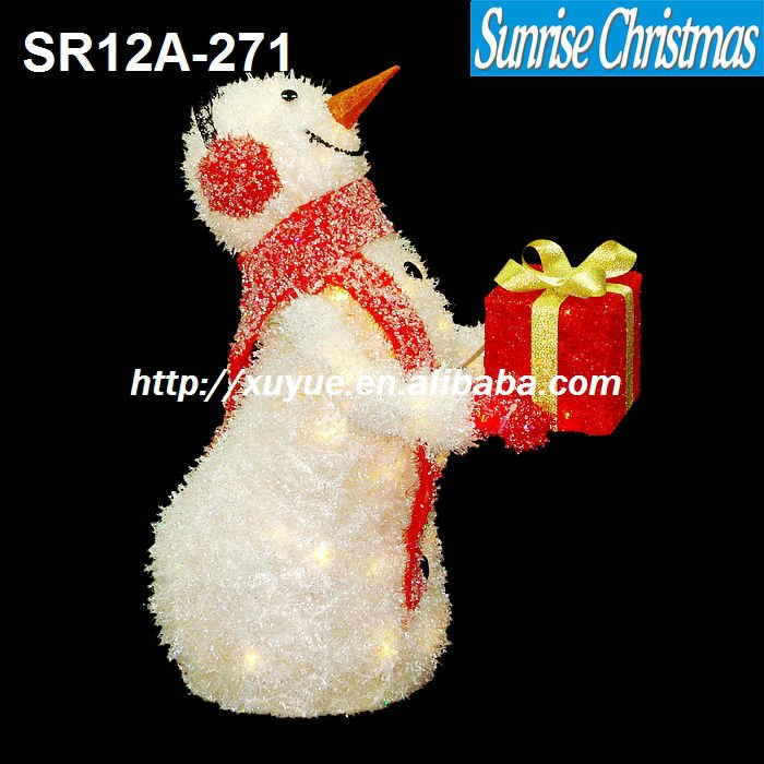 Outdoor lighted snowman with gift box light/ Christmas Santa decorations with gift box/LED Christmas light (MOQ: 200PCS)