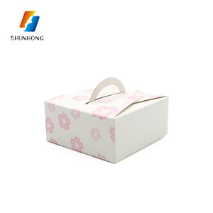 Wholesale square matte mini birthday cupcake packaging paper box with handles