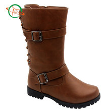 Fashion 2017 Hot Sale Leather Lace-up Heels Boots Winter Knee High Girl Shoes Combat Boots For Women