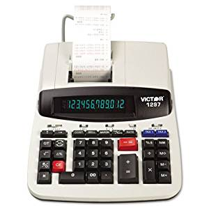Victor : 1297 Desktop Calculator, 12-Digit LCD, Two-Color Printing, Black/Red -:- Sold as 2 Packs of - 1 - / - Total of 2 Each