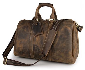 7077b 1 Uni Crazy Horse Leather Brown Travel Duffle Bag Dispatch Tote Plain Duffels