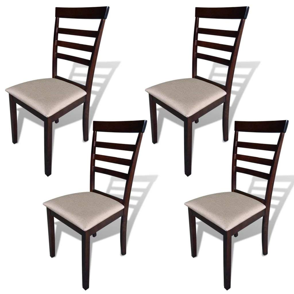 Get Quotations Soft To Touch Dining Set Of 4 Pcs Brown And Cream Chair Fabric