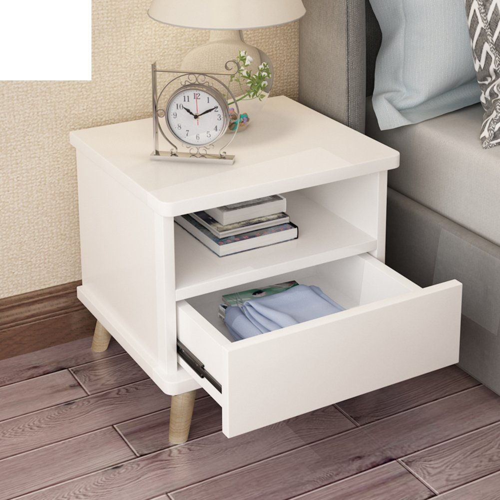 Simple modern bedside table,Bedroom storage cabinet mini bedside storage cabinet wood leg lockers-A
