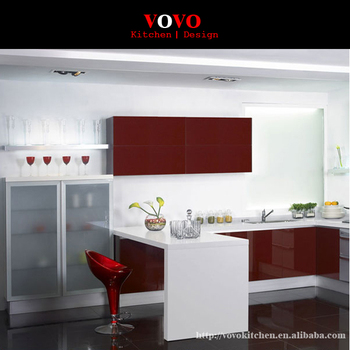 High Gloss White And Red Color Combined Modern Lacquer Kitchen