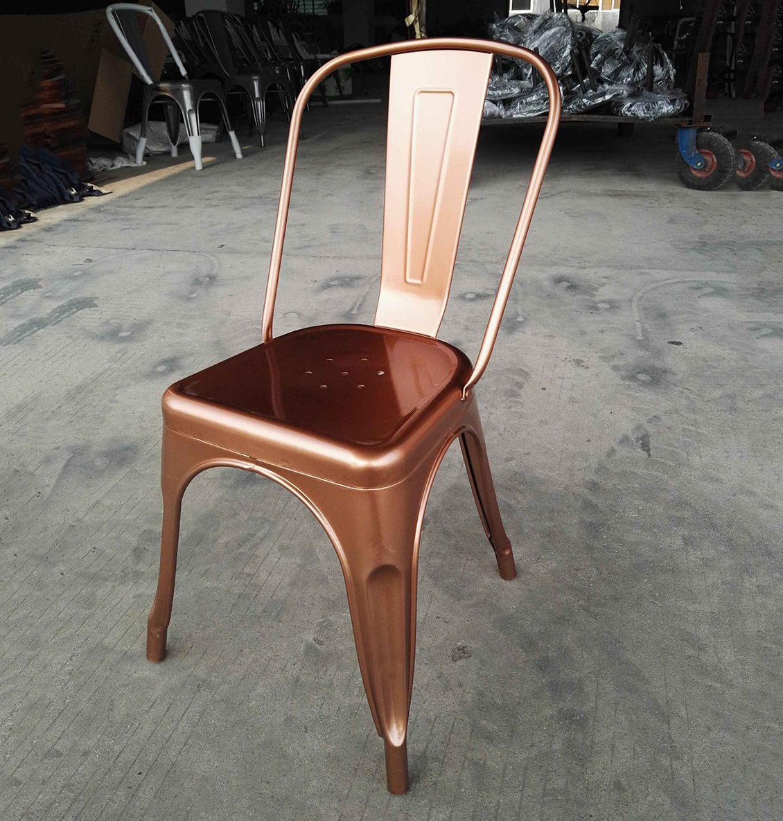 copper color chair shiny copper metal chair