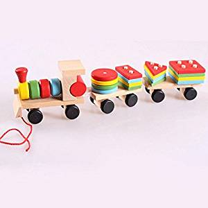 Sangdo Educational Children Baby Wooden Wooden Stacking Train Toddler Block Toy Gift