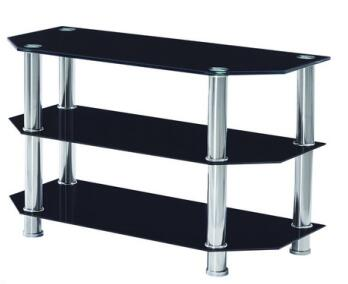 Modern simple black tempered glass with stainless steel legs TV stand