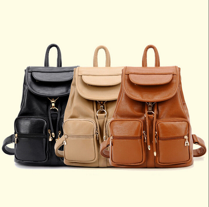 f39dd67fd63b Get Quotations · 2015 Women Girls PU Leather Backpack Campus Bookbag  Shoulder Bag Travel Bag Satchel Free shipping