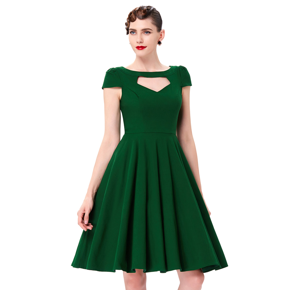 dropshipping service Belle Poque Dark Green Cap Sleeve Hollowed Front Party  Picnic Dress 50s Retro Vintage Dress BP000189-3 be198dbc57ac