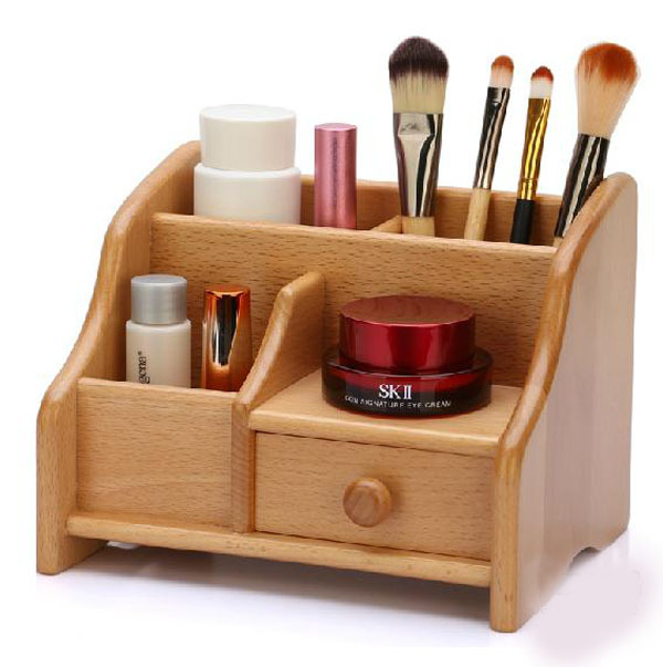 small bamboo wood storage box desk table wooden storage holder box