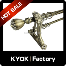 KYOK Anti-brass double curtain rod bracket, stainless steel extension curtain pipe/pole, aluminum alloy curain finial/end