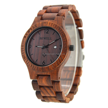 Sellers Bewell or OEM high quality hand made mens Complete Calendar wrist wood watch with Japanese quartz movement