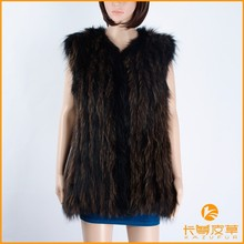 Fashion woman raccoon fur knitted long gilet,KZ150053