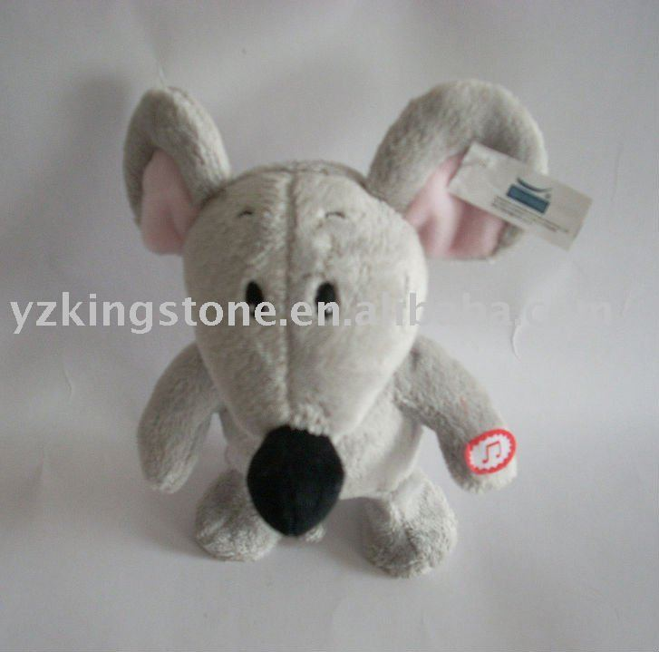 Plush movement & music toy cute mouse