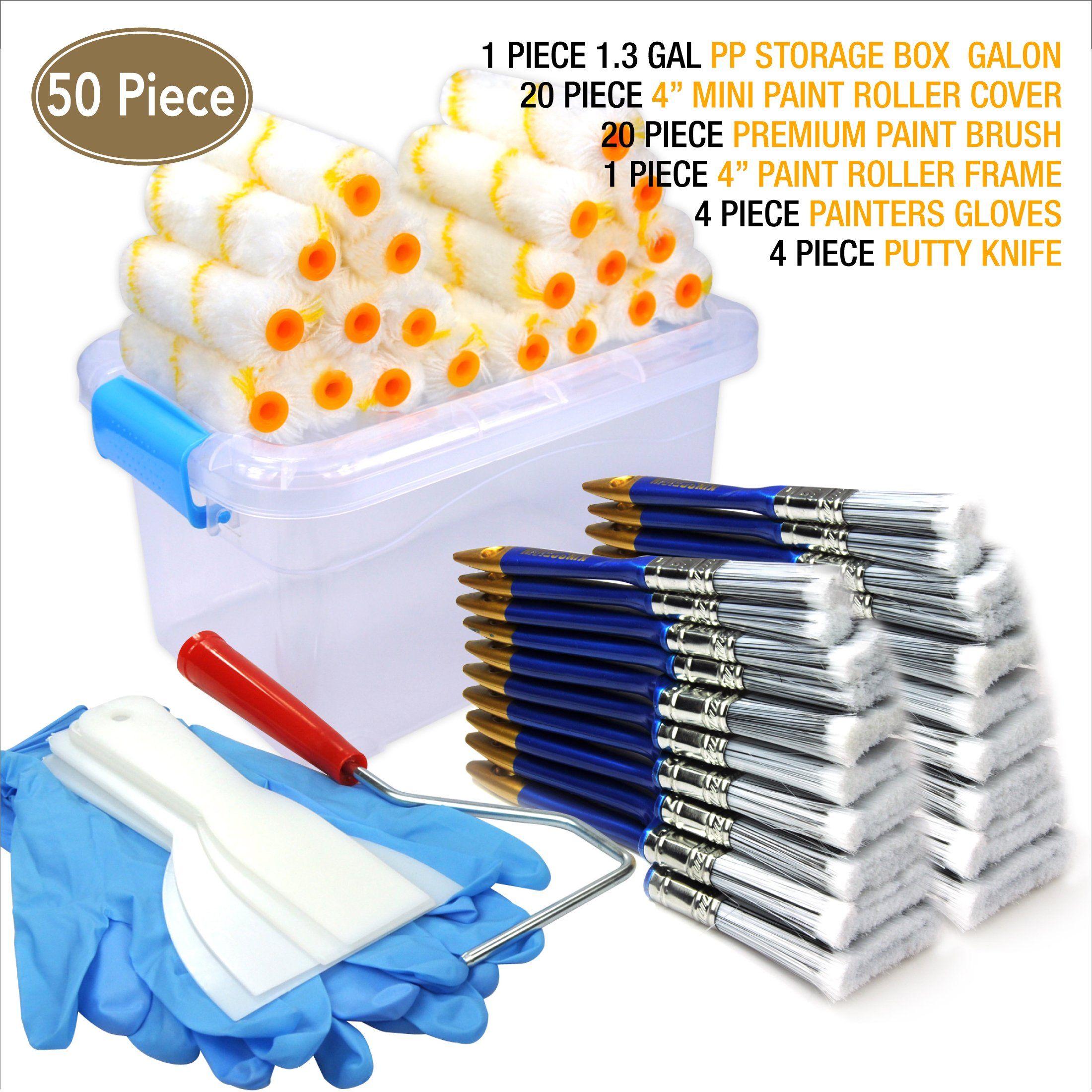 50 Piece Painters multi use,home tool kit,Mini paint roller covers,paint roller,paint brush,paint roller frame,home repair tools,tools,tool kit,tool case,home tool kit,tool storage,tool box
