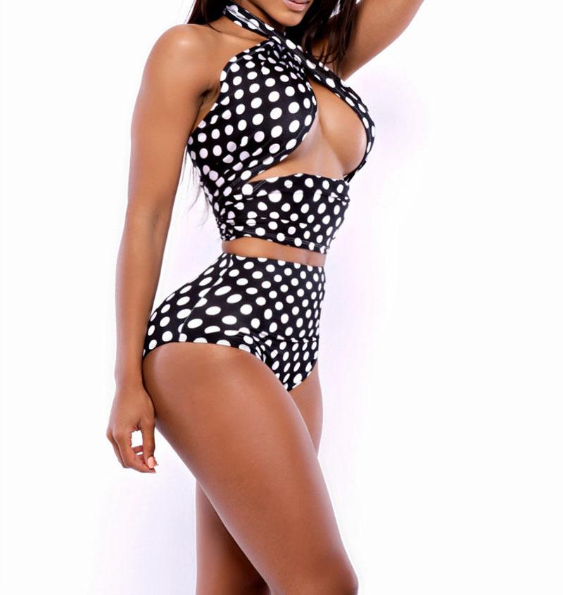 14cbe205c8 Bikini Brazilian 2015 New Arrival Woman black dot bandage Bikinis set  Swimwear High Waist Peplum Swimsuits Costumi Da Bagno Sale
