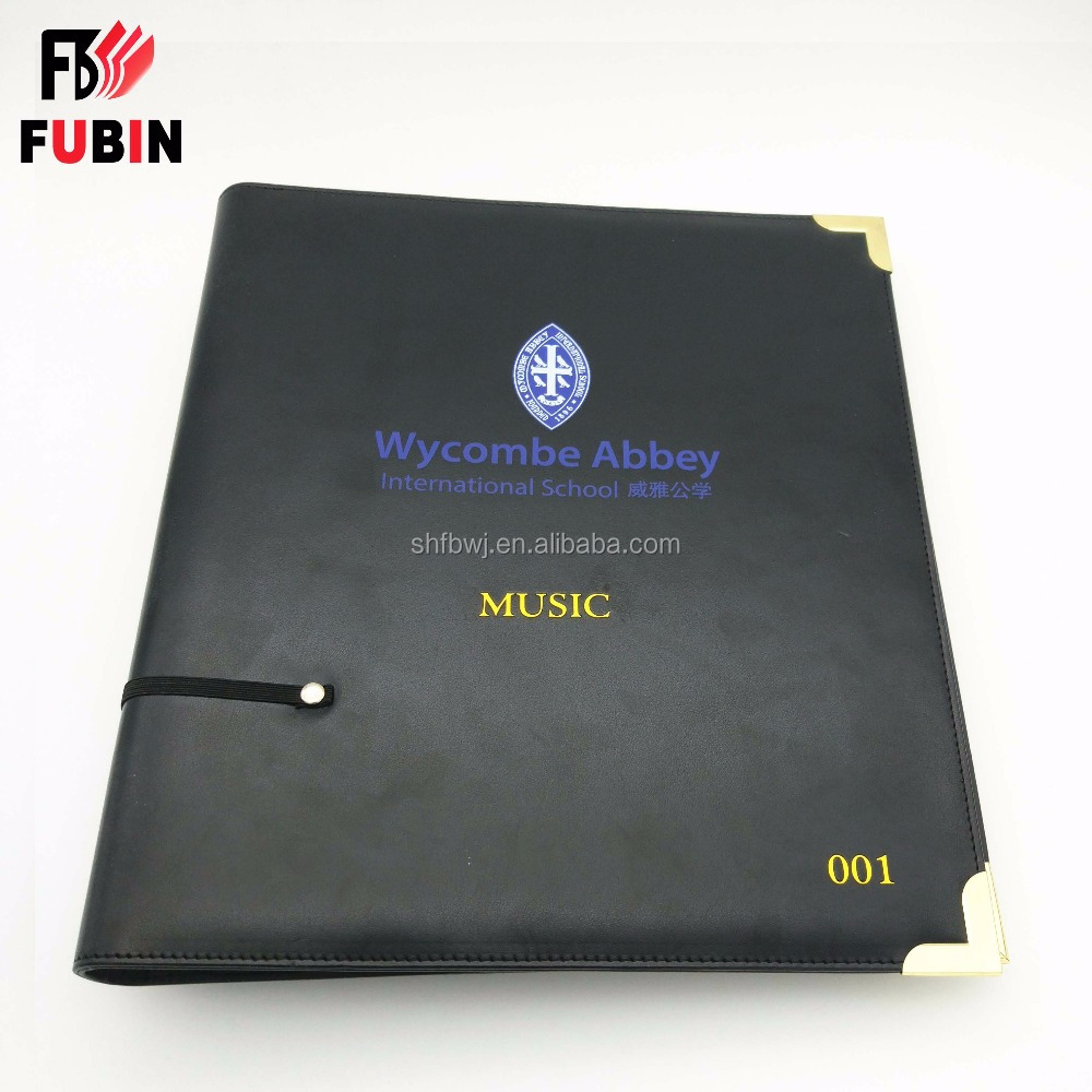 Office stationery OEM clip file folder with leather hard cover conference files