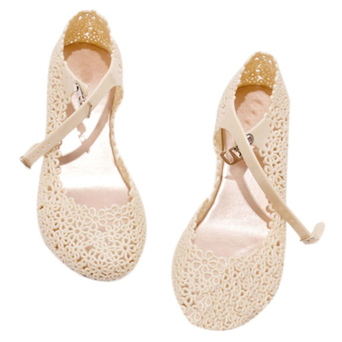 Qupid White Blush Floral Wedge Heel Bow d/écor Womens Shoes Glory-174x
