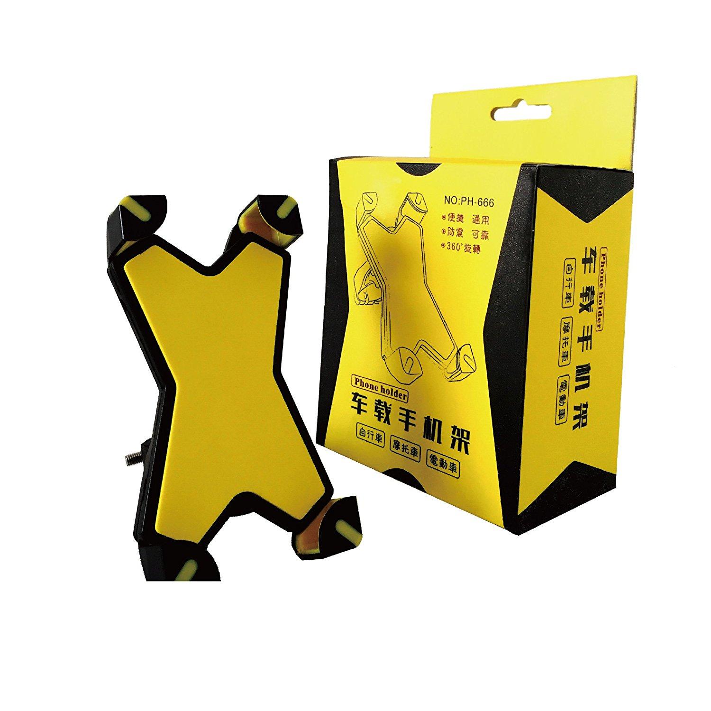 [X-Grip]Generic Bike Phone Mount Holder, Universal Bike Phone Mount Holder, Motorcycle Phone Mount Holder for iPhone 7,SE,6s Plus,6 Plus,6s,6,Galaxy S7,S6,S6 Edge (Yellow)