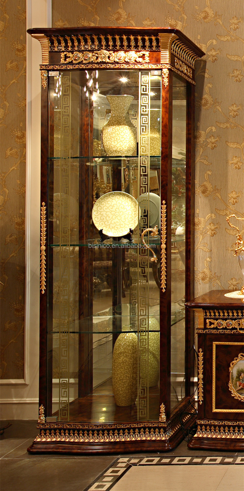 Luxury french baroque style living room wine cabinet for Baroque glass door
