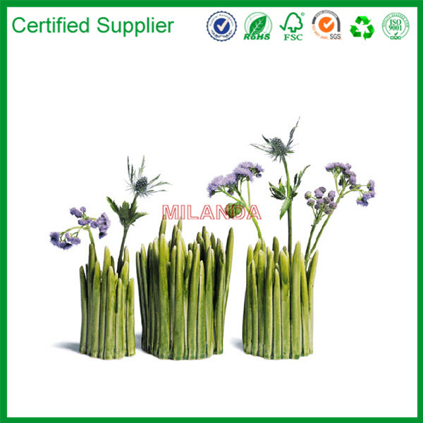 China green natural glass flower vase for wedding decoration