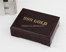 Practical Artistic Gold Foil Plated Poker Playing Card Wooden Box Case For Present Gift