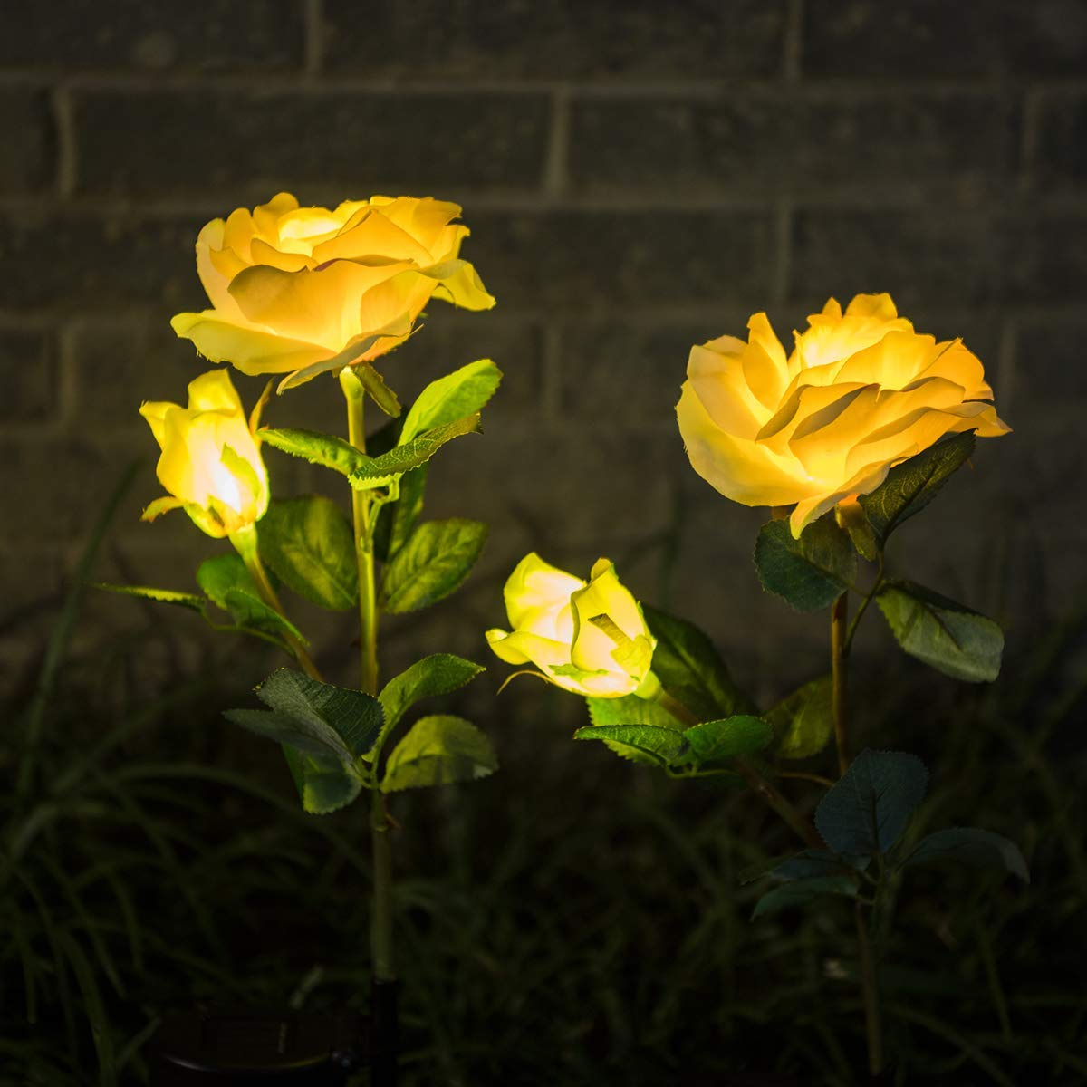 WED Outdoor Solar Garden Stake Lights, 2 Pack Solar Powered Lights with 4 Rose Flower, LED Solar Decorative Lights for Garden Patio Backyard Patio Pathway Backyard Decoration(Yellow)