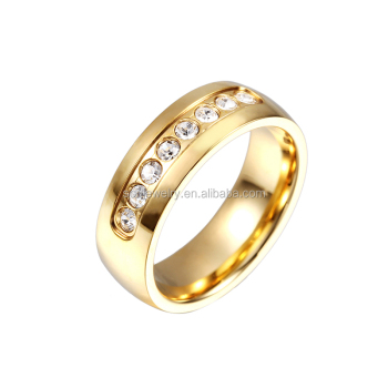 Stainless Steel Cz Diamond Gold Ring Sample For Female Jewelry