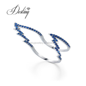 Destiny Jewellery latest ring designs for ladies with color crystal engagement ring made with crystals from Swarovski
