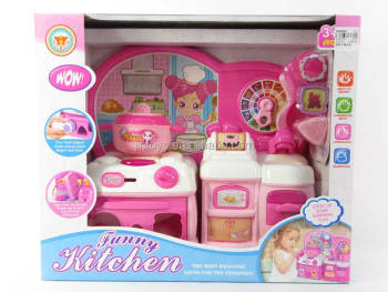 Kids Pretend Toy Kitchen Set Funny Pink Plastic Big Kitchen Table Toys