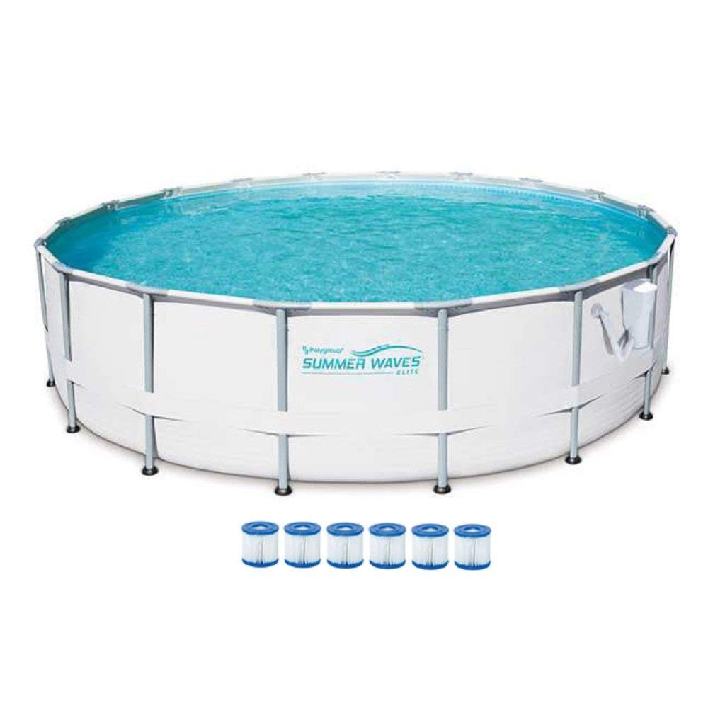 SUMMER WAVES Elite 18-Foot Frame Pool Set with Filter Pump + 6 Filter Cartridge Type VII, Type D