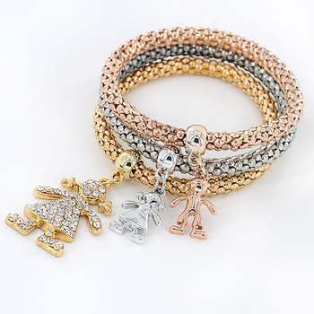 2019 New Arrival Multi-colors Austrian Crystal Rhinestones Boys Girls Charm Pendant Popcorn Chain Stretch Bracelet