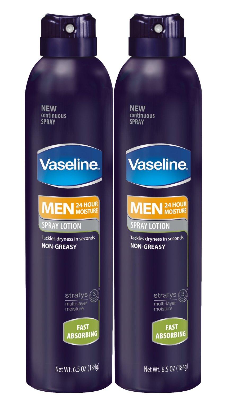 Vaseline Men Spray Lotion, Fast Absorbing 6.5 oz, Twin Pack