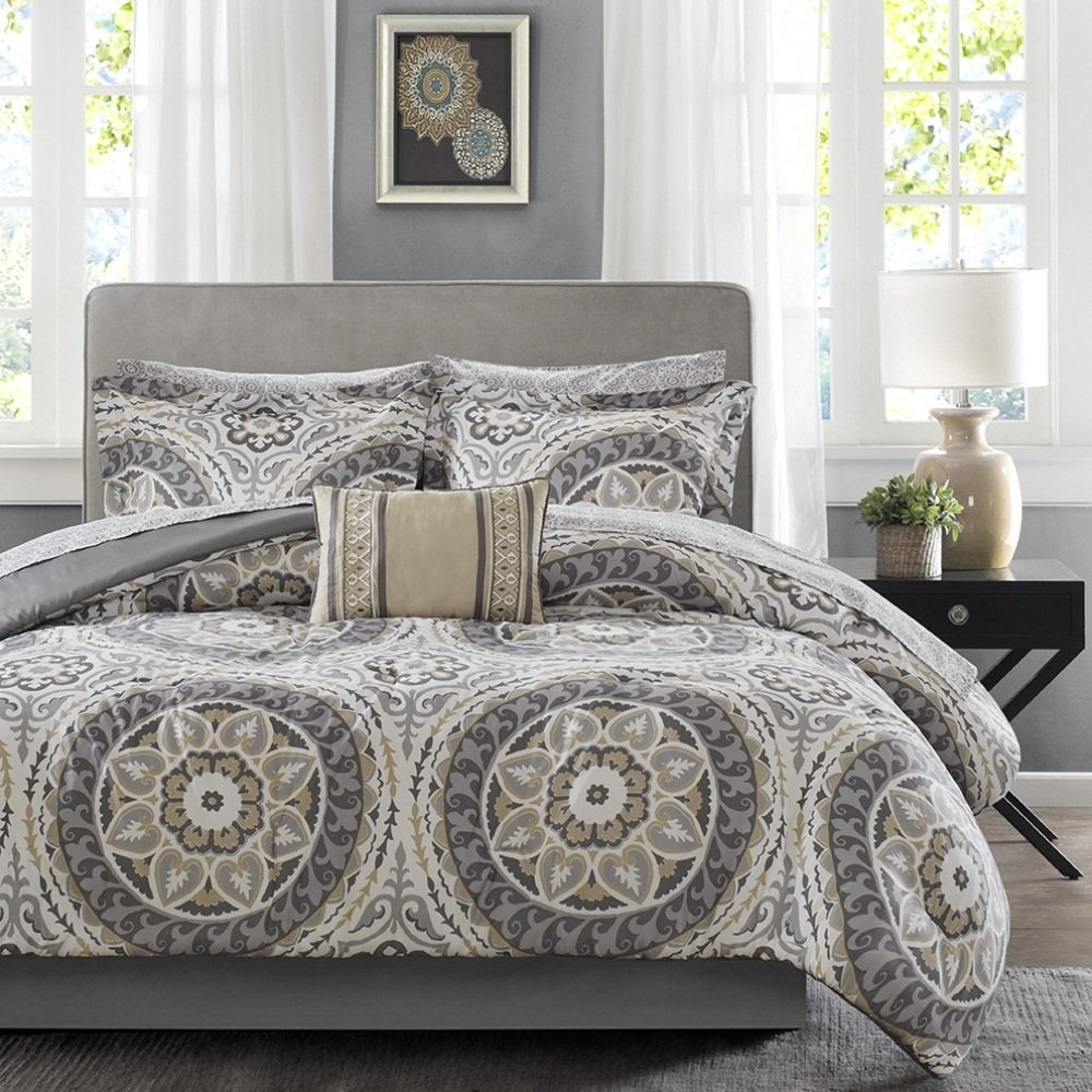 9 Piece Light Grey Medallion Comforter Queen Set, Beautiful All Over Bohemian Boho Chic Bedding, Multi Floral Paisley Mandala Motif Themed, Damask Flower Pattern Design, Taupe Tan Dark Gray