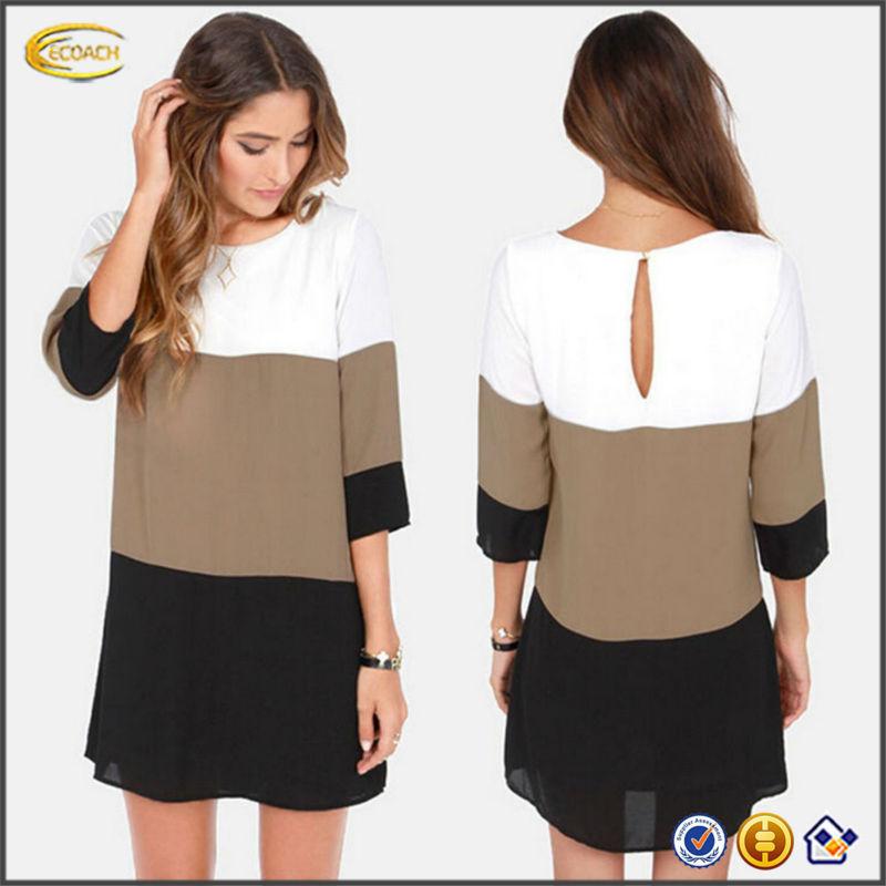 New Design Women Fashion Chiffon Splicing Mini Short Dresses Slim ...