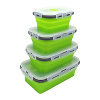 Amazon Hot Sale Reusable BPA Free Set of 4 Silicone Collapsible Food Storage Container Folding Lunch Box