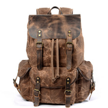 Hot selling outdoor large capacity waxed canvas waterproof hiking travelling backpack