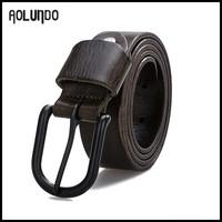 Fashion designer Mens vintage vegetable tanned leather pin buckle belts
