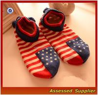 2015 New Coming Anti-Slip Women Floor Socks/American Flag Room Socks/Knitted Slipper--AMY2015068