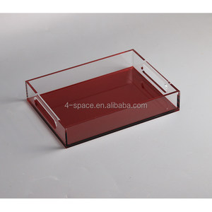 custom Clear Acrylic Breakfast Serving Tray With Handles Multipurpose Decorative Plexiglass Wine Glasses Tray