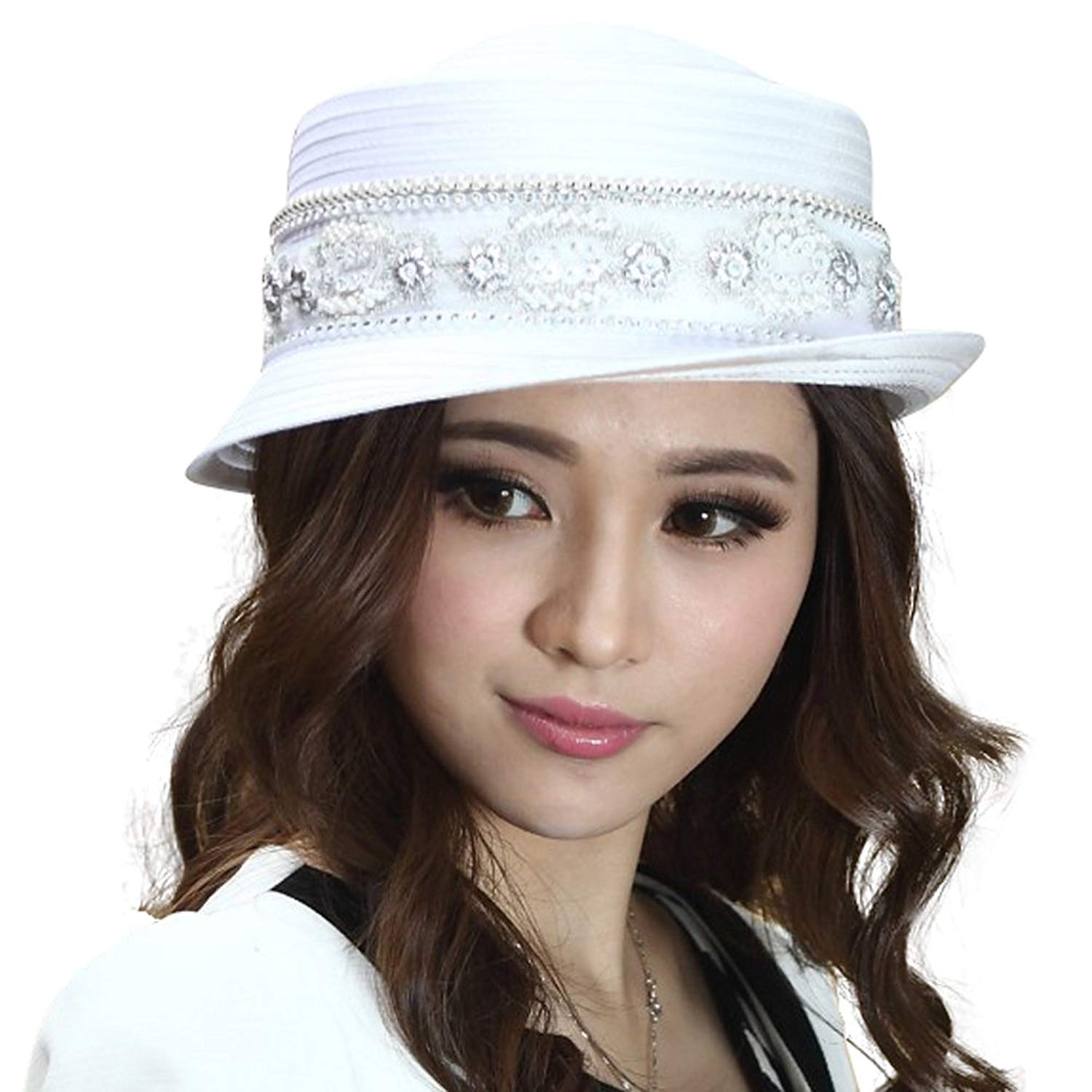 ebdf2ce8548571 Buy Junes Young Women Hat Church Hats Floral Formal Occasions Simple ...