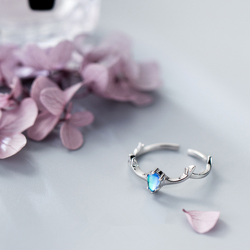 Fashion 925 Sterling Silver Ring Jewelry Blue Crystal Elk Antler Resizable Ring For Girls Women