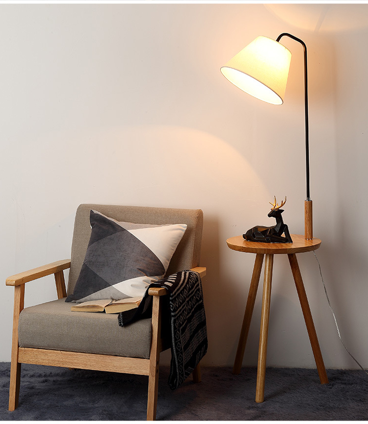 Hotel Nordic Arc Designer Stand Light Modern LED Wooden Floor Lamp With Table