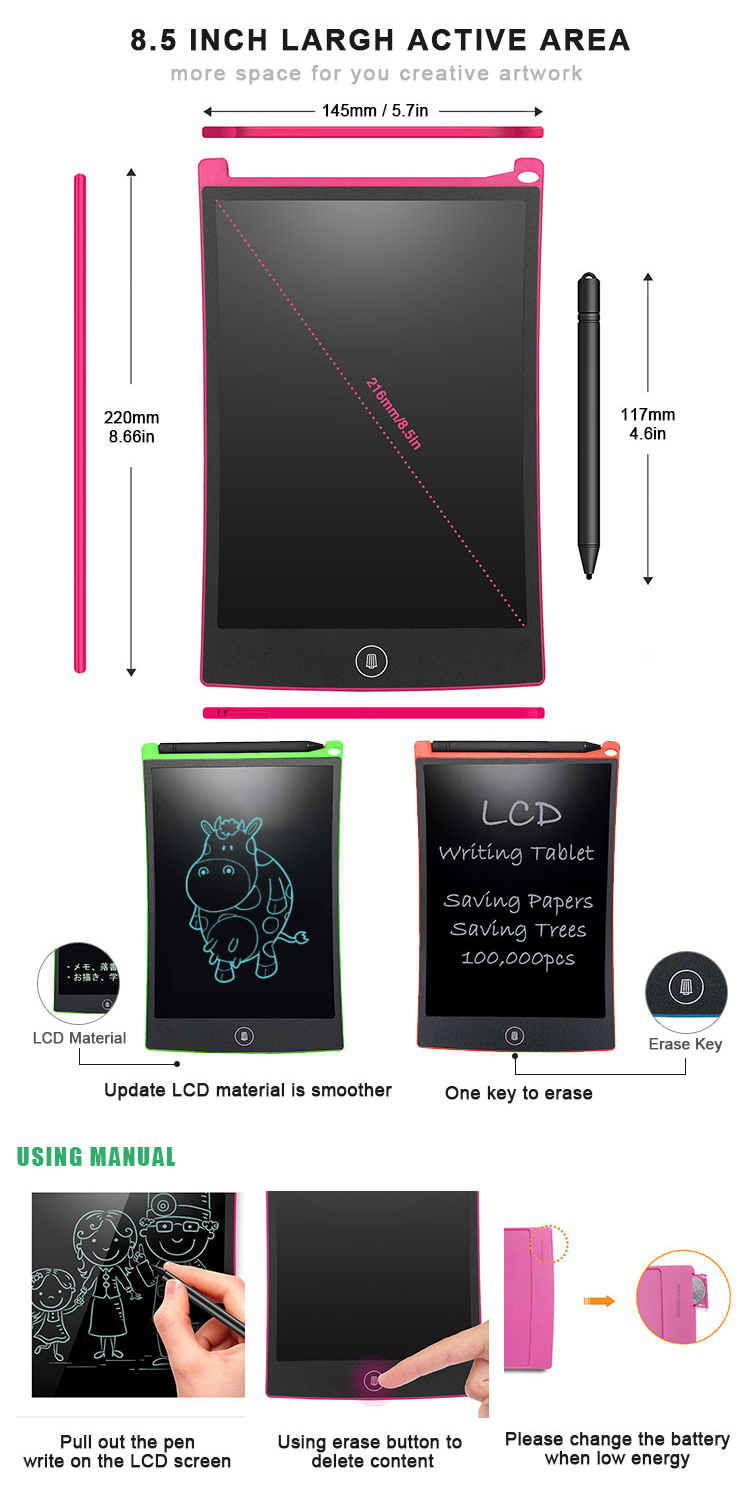 Newyes Best Gift 8.5 inch Drawing Board Digital Graffiti Pad LCD Writing Tablet for Kids