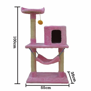 China Plush Wooden Cat Play Tree House / Wood Cat Scratch Furniture Bed