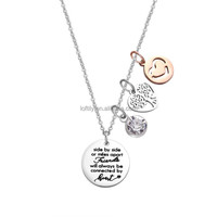 Two-tone Heart Pendant Necklace Inspire Stainless Steel Best Friends Rose gold Charm Chain Necklace