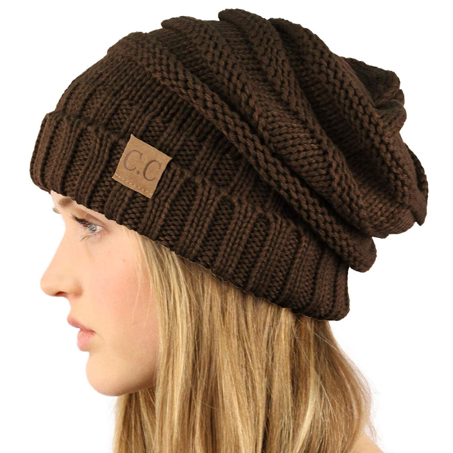 16d38cce7c4 Get Quotations · SK Hat shop Oversized Chunky Thick Soft Stretch Knit  Slouch Beanie Skull Ski Hat Cap