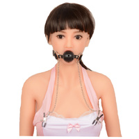 Leather Mouth Gag With Breast Nipple Clamps With Chain Female Bondage For Women