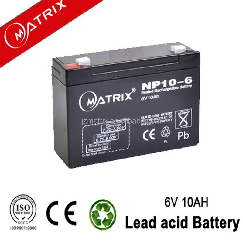 best price long serve time high quality lead acid battery 6v10ah